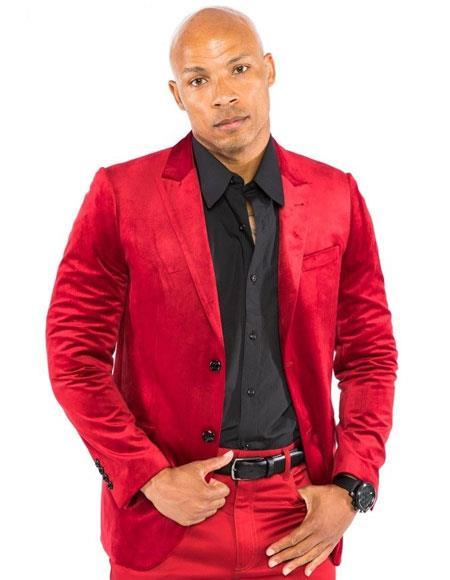 Mens Red Velvet Suit & Cheap Priced velour Mens blazer Jacket For Men Sport Coat + Pants Pre order to shipping