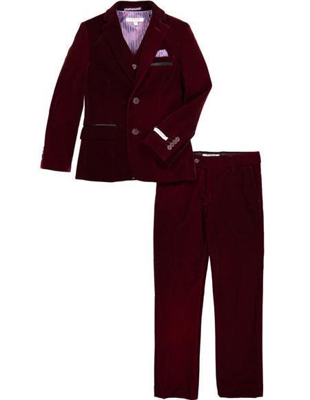 Mens Velvet Fabric Burgundy ~ Wine ~ Maroon Suit velour Mens blazer Jacket & Pants (no vest include