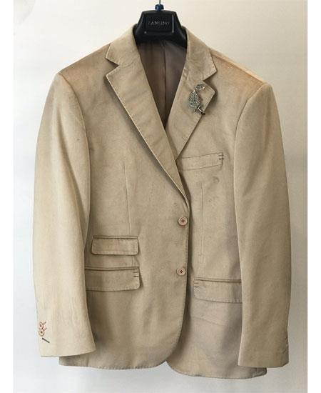 Men's Velvet ~ velour Men's blazer Jacket Ticket Pocket Fashion Casual Jacket Sand ~ Tan ~ Khaki