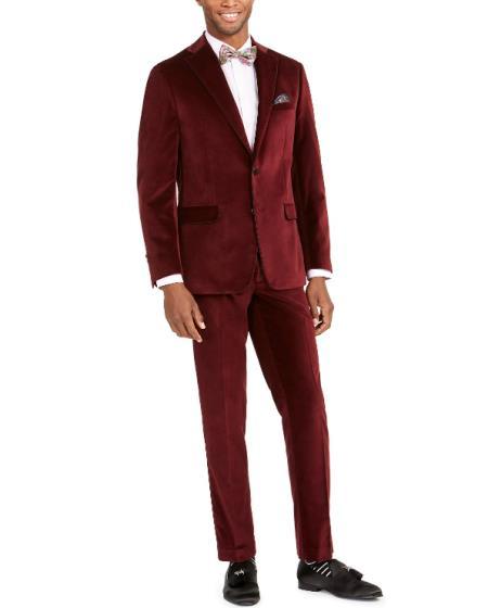 Mens  Velvet Burgundy Suit