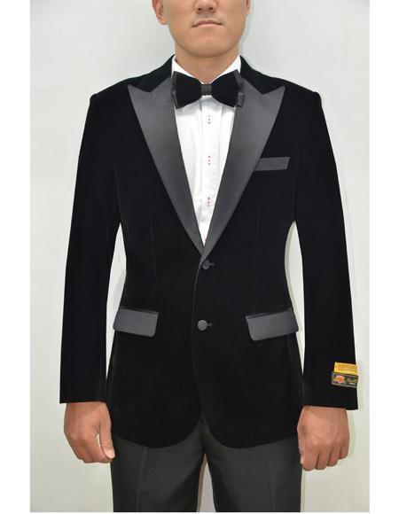 Peak Lapel Fashion Smoking Casual Velour Cocktail Tuxedo velour Mens blazer Jacket With Free Matching bow
