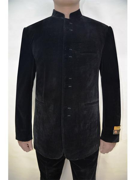 Mens Black Mandarin Banded Collar Fully Lined Velvet Blazer