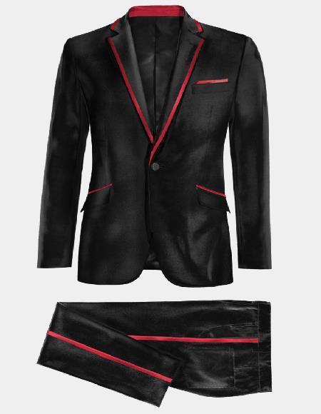 Mens Single Breasted Notch Label Black and Red Velvet Tuxedo velour Mens blazer Jacket