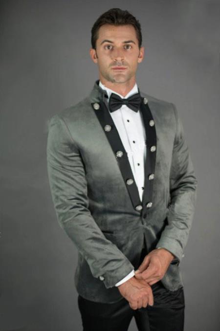 Mens Peak Lapel Slim Fit Grey Velvet Jacket velour Mens blazer Jacket