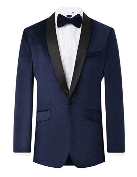 Mens Navy Velvet 2 Piece Tuxedo Regular Fit Jacket