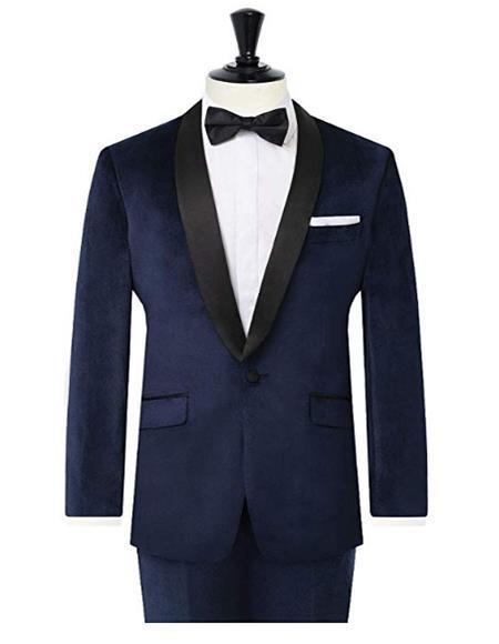 Men's Navy Slim Fit 2 Piece Velvet Tuxedo