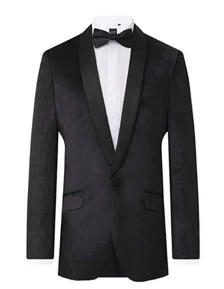 Mens Black Velvet 2 Piece Tuxedo Slim Fit Shawl Lapel velour