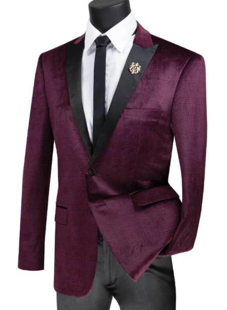 Velvet Plaid ~ Window Pane Velvet Tuxedo velour Men's blazer Jacket