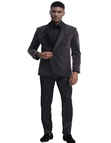Mens Grey Two Button Double Breasted Velvet Sport Coat velour Mens blazer Jacket