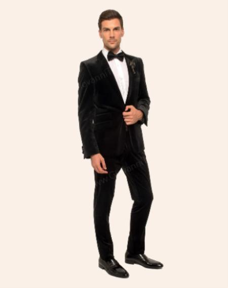 Velvet Suit (Jacket and Pants Velvet Fabric) + Black velour Mens blazer Jacket