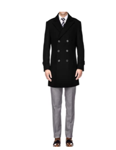 Mens Double Breasted Coat Black