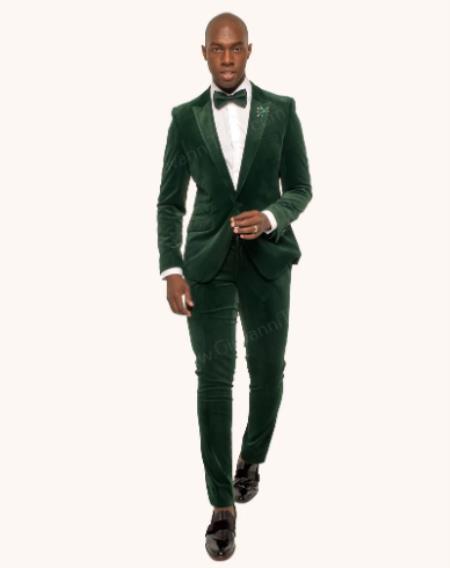 Velvet Suit (Jacket and Pants Velvet Fabric) + Green velour Mens blazer Jacket