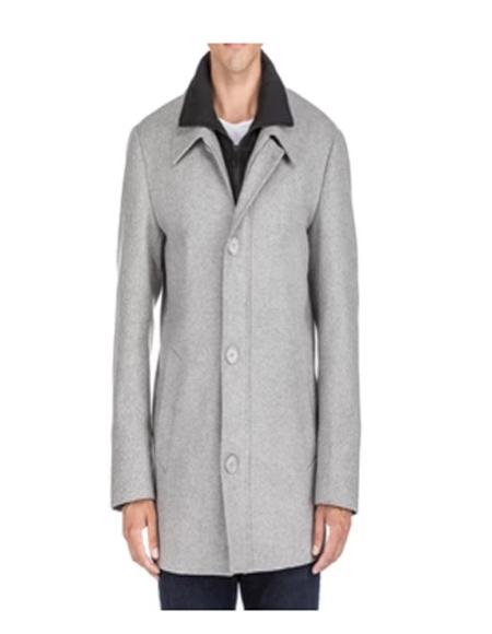 Mens Single Breasted Coat Gray