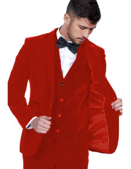 Mens Red Color Single Breasted Peak Lapel Velvet Vested Suit Pre Order To Ship Jan/15/2020 Velour Mens blazer Jacket