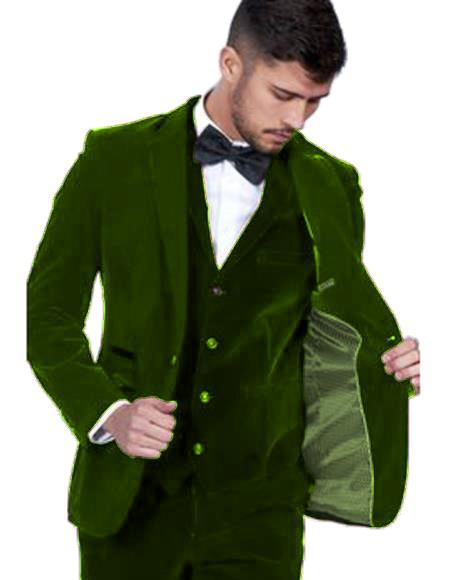 Velour Mens blazer Jacket Mens Dark Green Color Peak Lapel Velvet Vested Suit Pre Order To Ship Jan/15/2020