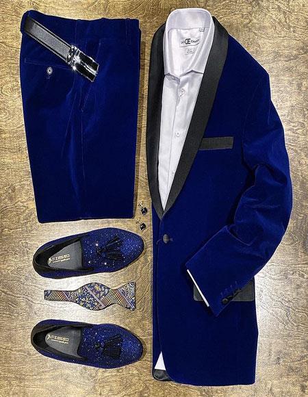 Mens Blue Velvet Suit or Tuxedo Jacket for Prom