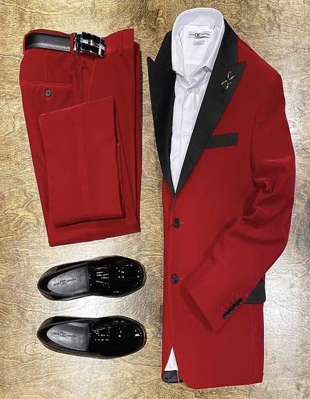 Men's Red Velvet Suit or Tuxedo Jacket for Prom