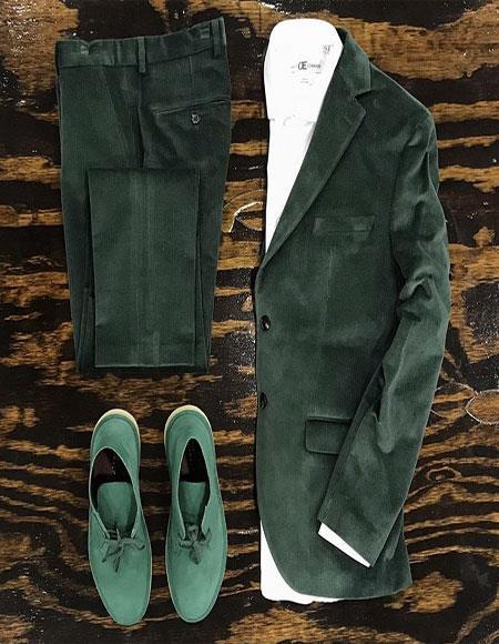 Mens Green Velvet Suit or Tuxedo Jacket for Prom