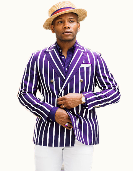 Mens Purple/White Pinstripe Besom Pockets Double Breasted Blazer