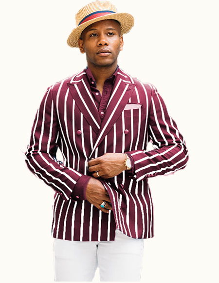Mens Burgundy/White Stripe  Double Breasted Suits