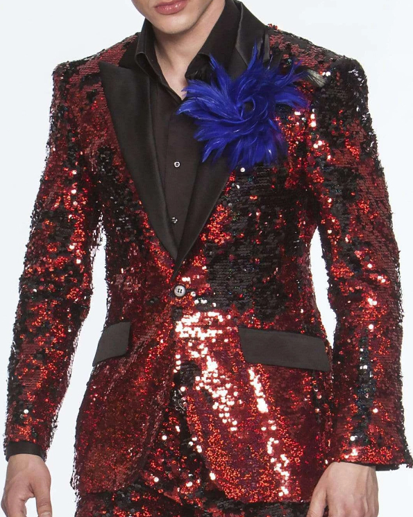 Men's sequin embroidered Suits Red Perfect Prom / Wedding