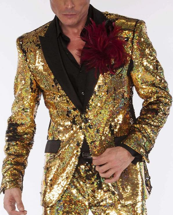 Men's Gold/Black  Sequin Long Sleeve Suits