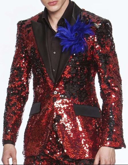 Men's Red/Black 2-Button front Sequin Suits  Perfect For Prom / Wedding