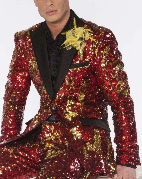Mens Red/Gold Peak Collar Sequin Suits  Perfect For Stage