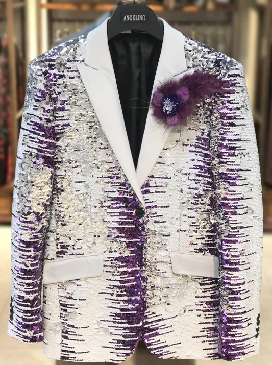 Men's Sequin Peak Lapel Suits White and Purple Perfect For Stage