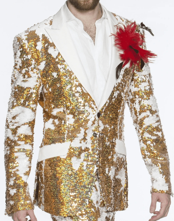 Men's Double Vent Sequin Suits Gold Perfect For Stage Tuxedos