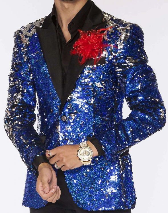Men's Two Button Sequin Suits Blue Perfect For Stage Tuxedos
