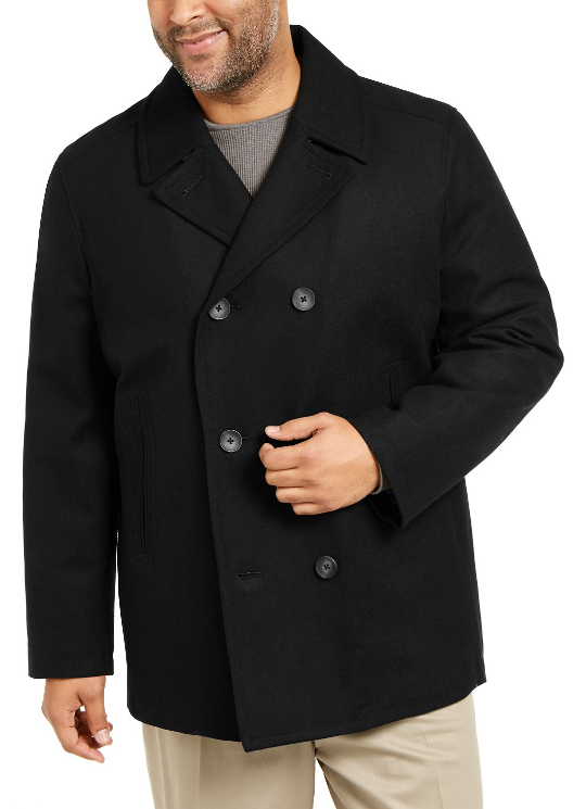 Mens Black Three Button Double Breasted Closure Big And Tall Wool Peacoat