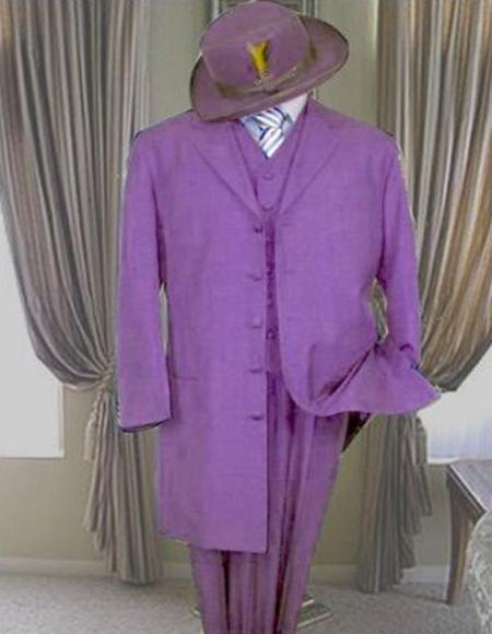 Mens Lavender Five Button  3 Piece Zoot Suit 1920s Long Fashion suit