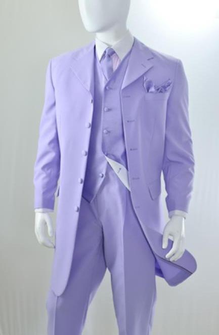 Lavender ~ Lilac Vested 3 Piece Fashion Zoot Suit for Men