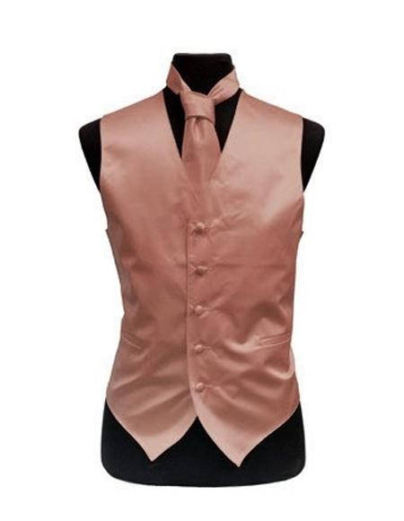 Men's Rose Gold - Dusty Rose Satin Vest and Necktie Set