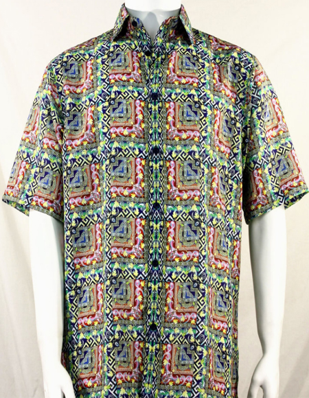 Bassiri Green & Pink Abstract Squares Short Sleeve Camp Shirt 5015