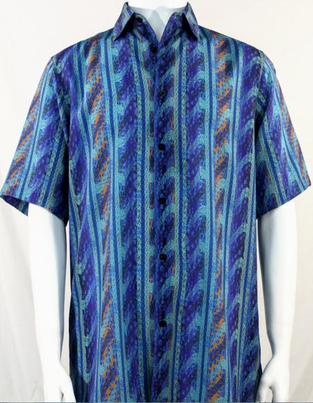 Bassiri Aqua Blue Wave Pattern Short Sleeve Camp Shirt 5003
