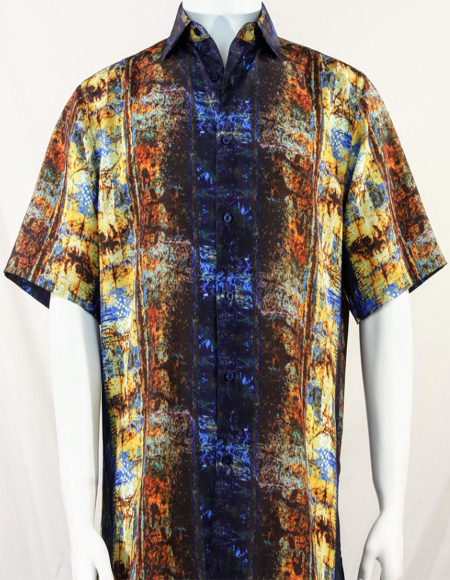 Bassiri Blue Pattern Short Sleeve Camp Shirt 3996