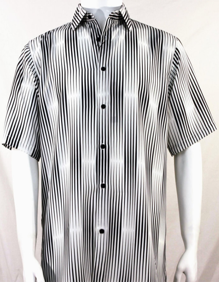 Bassiri Black Stripes Pattern Short Sleeve Camp Shirt 3987
