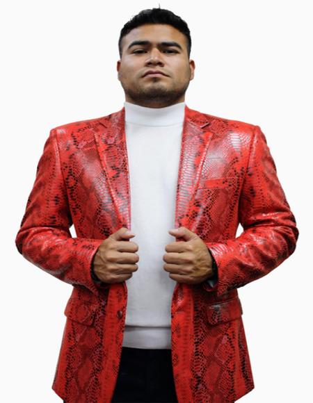 Red Full Cut Flap Front Pockets Men's Alligator Jacket Print Python ~ Ostrich ~ Gator Exotic Skin Blazer for Men's