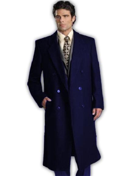 Navy Blue Wool Double Breasted Wool Overcoat ~ Long Men's Dress Topcoat -  Winter coat Full Length By Alberto Nardoni
