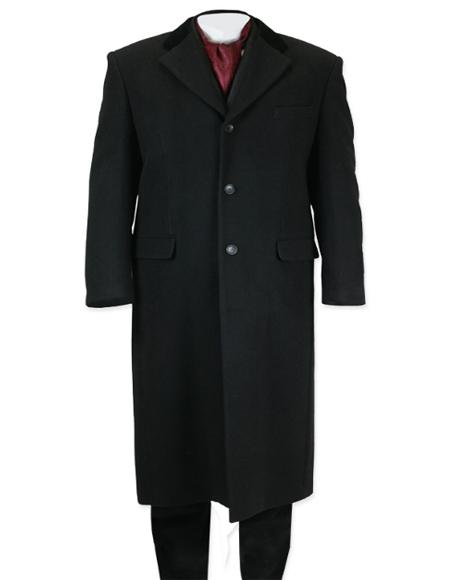 Men's Full Length Long Men's Dress Topcoat -  Winter coat in Black