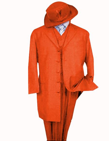 Limited Edition Mens Orange Zoot Suit 1920s Long Fashion suit