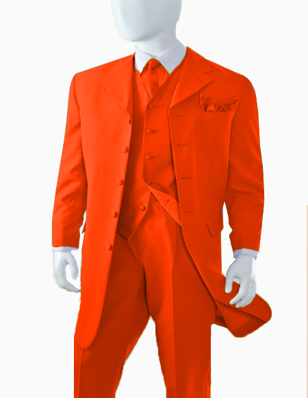 Limited Edition Men's Orange Zoot Suit Pre order 1920's Long Fashion suit