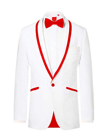 Prom ~ Wedding Tuxedo Dinner Jacket White/Red Trim
