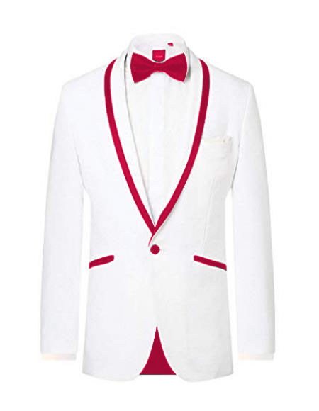 Prom ~ Wedding Tuxedo Dinner Jacket White/Burgundy Trim