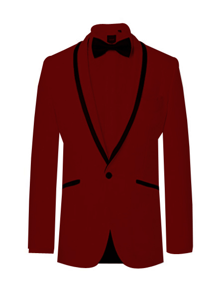 Prom ~ Wedding Tuxedo Dinner Jacket Burgundy and Black Trim
