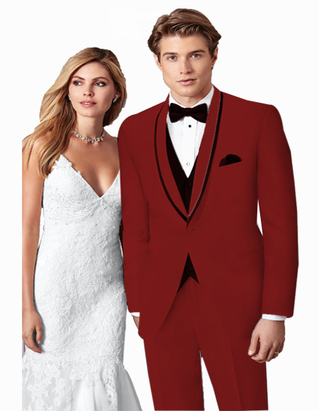 Prom ~ Wedding Tuxedo Suits Wtih Trim Shawl Collar Vested Suit Burgundy/Black Trim Burgundy Suit