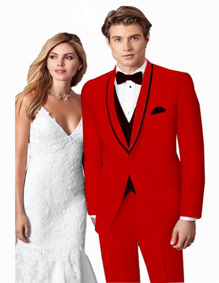 Prom ~ Wedding Tuxedo Suits Wtih Trim Shawl Collar Vested Suit Red/Black Trim