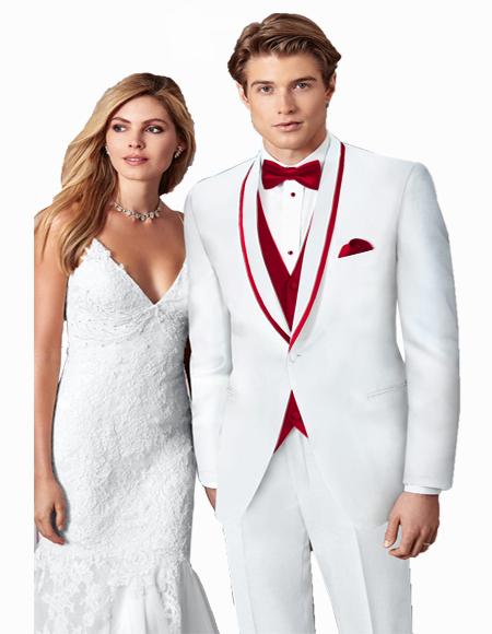 Prom ~ Wedding Tuxedo Suits Wtih Trim Shawl Collar Vested Suit White/Burgundy Trim suit